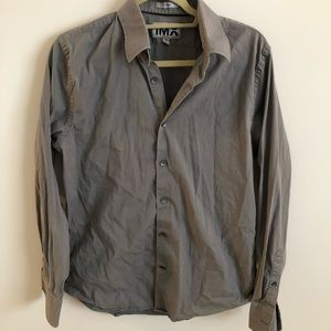 Men's Express 1MX Gray Fitted Buttondown Large